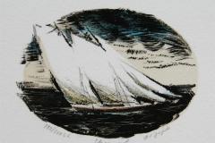 Skonnert Litografi 8x11 cm 400 ur