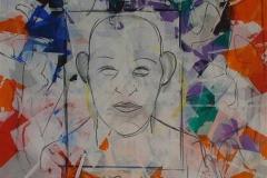 Ansikt Akrylmaleri 80x80 cm 10000 ur