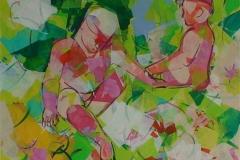 Barndommens groenne dal Akrylmaleri 100x100 cm 15000 ur