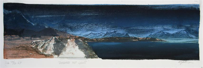 Dragning mot ljoset Litografi 14x49 cm 1600 ur