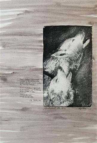 Inne i pelsens ensomhet Litografi 56x39 cm 6000 ur