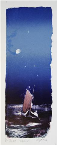 Maanelys Litografi 41x15 cm 1600 ur