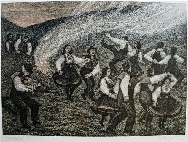 Setesdalsgangar Litografi 50x70cm 1800,-kr u.r.
