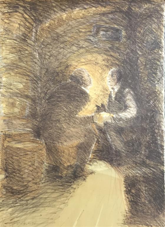 Kveldsprat Litografi (71x52 cm) kr 4500 ur