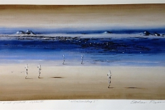 Aftenlandskap I Print, pastell, oljekritt 40x74 cm 3800 ur