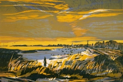 Vaarlys ved havet Tresnitt 36x46 cm 1500,-kr u.r.