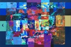 Rød kveld (natten kommer) Akrylmaleri (54x71 cm) kr 6500