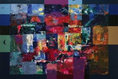 Fiolett morgen Akrylmaleri (54x71 cm) kr 6000