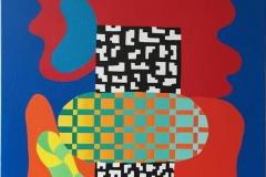 Assemblage I Akrylmaleri 55x46 cm kr 22000 ur