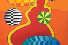 Red Venus, Yellow aura Akrylmaleri 100x81 cm kr 45000 ur