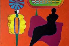 Venus in Open Network Akrylmaleri 130x130 cm kr 60000 ur