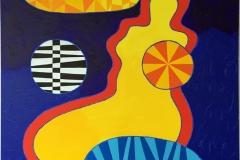 Yellow Venus, red aura Akrylmaleri 116x89 cm kr 48000 ur