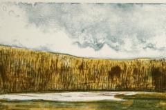 Landskap med tolv men Litografi 30x22cm 800,-kr u.r.
