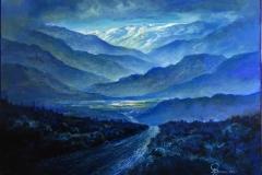 Blått landskap II Oljemaleri (90x125 cm) kr 35000 ur