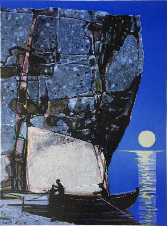 Fiskere Litografi (36x27 cm) kr 2600 ur