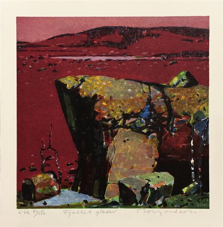 Fjellet gløder Litografi (26x26 cm) kr 2000 ur