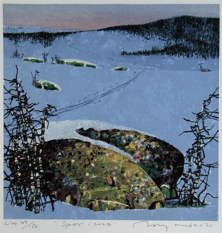 Spor i snø Litografi (24x24 cm) kr 1600 ur