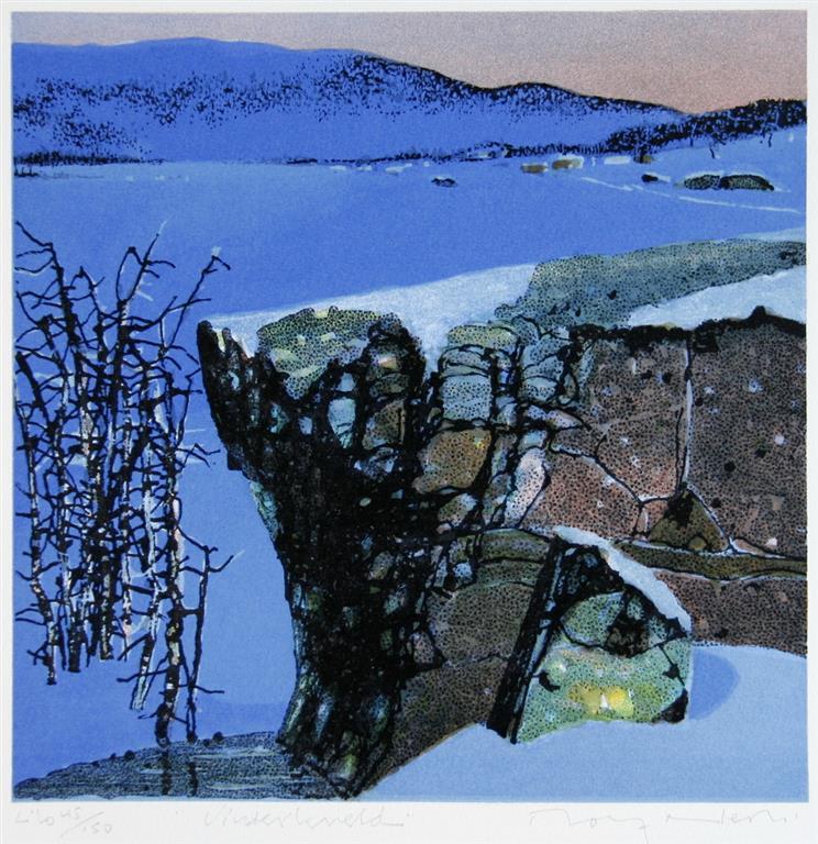 Vinterkveld Litografi (24x24 cm) kr 1600 ur