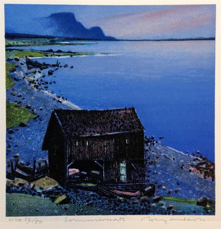 Sommernatt Litografi 26x26 cm 2000 ur