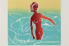 Badende kvinne Tresnitt (16x16 cm) kr 700 ur