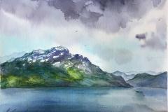 På vei til Sauda. Akvarell (24,5x18 cm) kr 700 ur