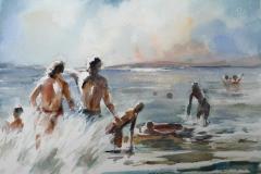 Badeglede I Akvarell 28x38 cm 3200 ur