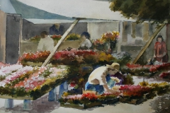 Blomsterhandel, Drammen Akvarell 28x38 cm 3200 ur