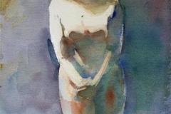 Blond modell Akvarell 28x19 cm 1400 ur