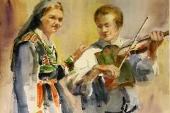 Bunadskledd Akvarell 28x38 cm 3200 ur