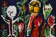 Blomsterpigerne Akrylmaleri 70x70 cm 6000 mr