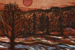 Roed sol Tresnitt 16x19 cm 1500,-kr u.r.