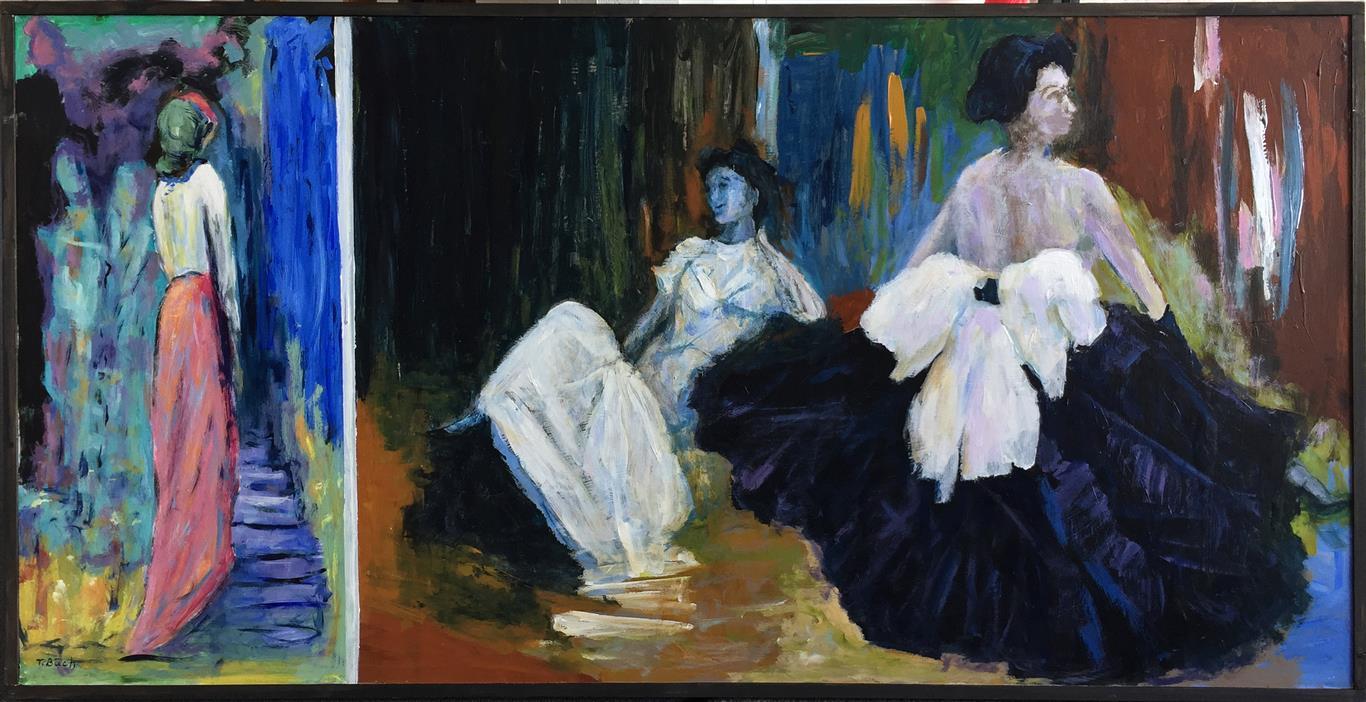 Damer Akrylmaleri (61x120 cm) kr 8000