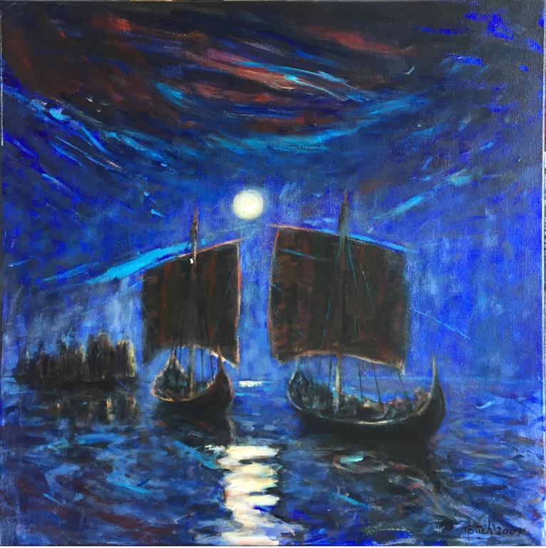Fra sagaen I Akrylmaleri (80x80 cm) kr 8000 ur