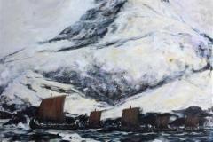 Vikingskip ved Sognnes Akrylmaleri (100x100 cm) kr 12000 ur