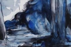Blaa knaus i Bjerksted Akvarell 17x25 cm 2900 mr