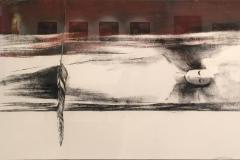 Grete Skoe. Den femte liggende engel Tegning_kull_kritt (45x70 cm) kr 9500 mr