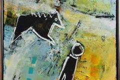 Går med hunden Akrylmaleri (80x60 cm) kr 6500 mr