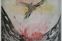 Fugl Foenix Etsning 27x27 cm 1800 ur
