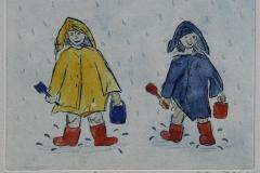 Smaa damer i regnet Etsning haandkol. 15x20 cm 1600 ur