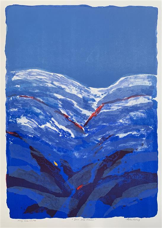 en blå timen Litografi (67x48 cm) kr 5000 ur