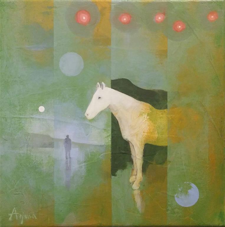 Hiding horse Akrylmaleri (30x30 cm) kr 4000 ur