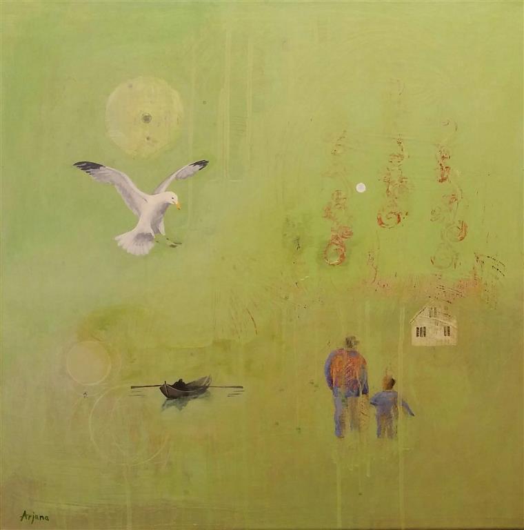 Home soon Akrylmaleri (50x50 cm) kr 6500 ur