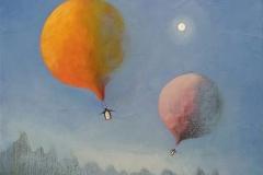 Floating penguins II Akrylmaleri (30x30 cm) kr 4000  ur