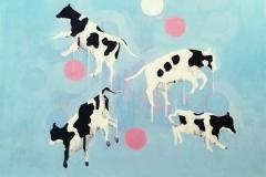 Spring jump Akrylmaleri (50x50 cm) kr 6500 ur