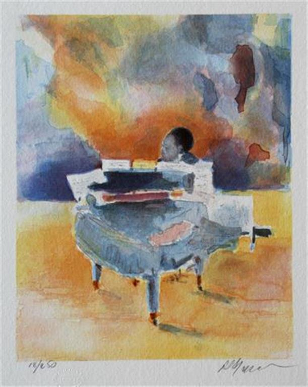 Count Basie piano Litografi 25x20 cm 600 ur
