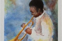 Miles Davis tromp Litografi 27x18,5 cm 600 ur