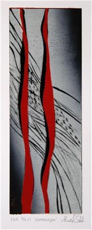Komposisjon Linosnitt (25,5x9 cm) kr 1100 ur