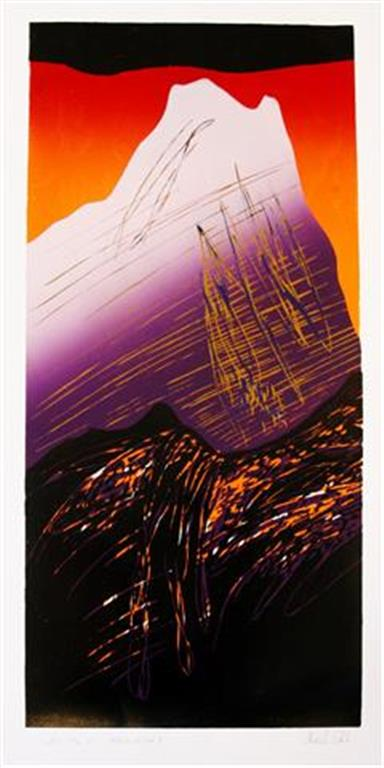 Mot en ny topp II Linosnitt (80x36 cm) kr 3600 ur