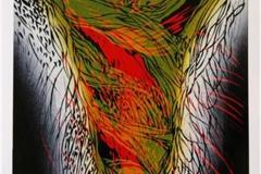 Vårportens fargelek Linosnitt (61x41 cm) kr 3100 ur