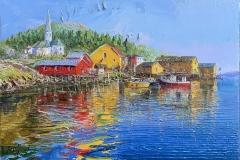 Liten norsk havn Oljemaleri (46x65 cm) kr 38000 ur